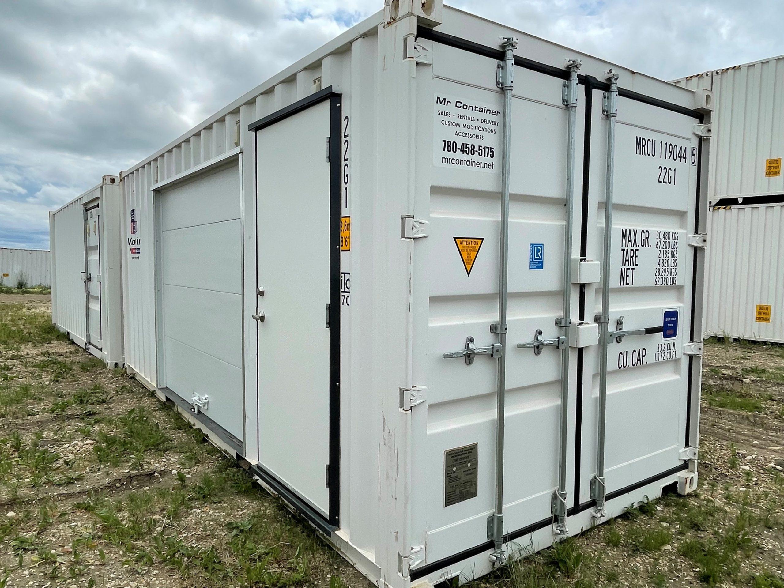 20′ STD (1-Trip) Shipping Container, Overhead/Garage Door, Locking Lever - Custom Cubes
