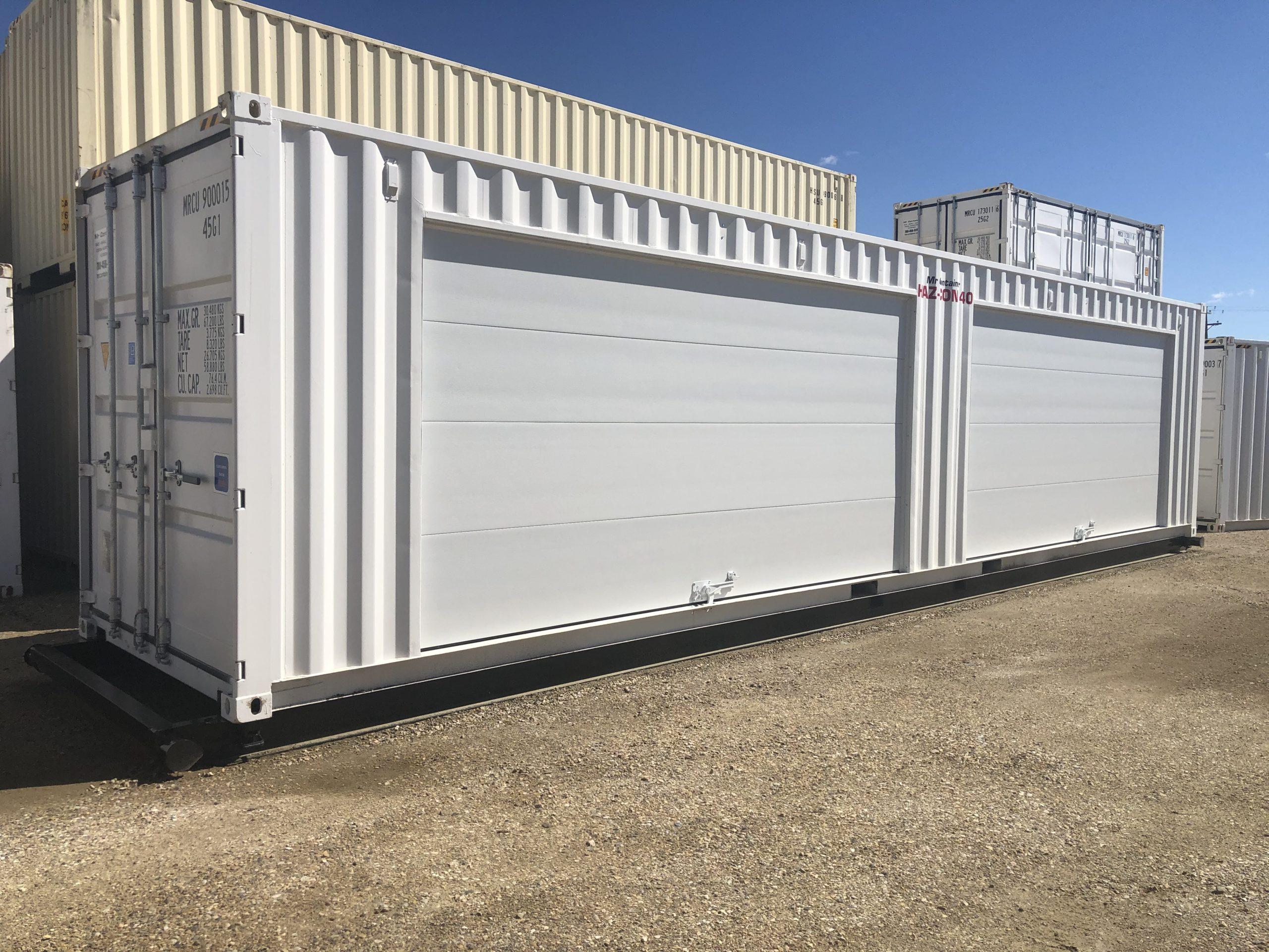 40′ HC (1-Trip) HAZ CON + (2) 16′ Overhead Doors - Custom Cubes