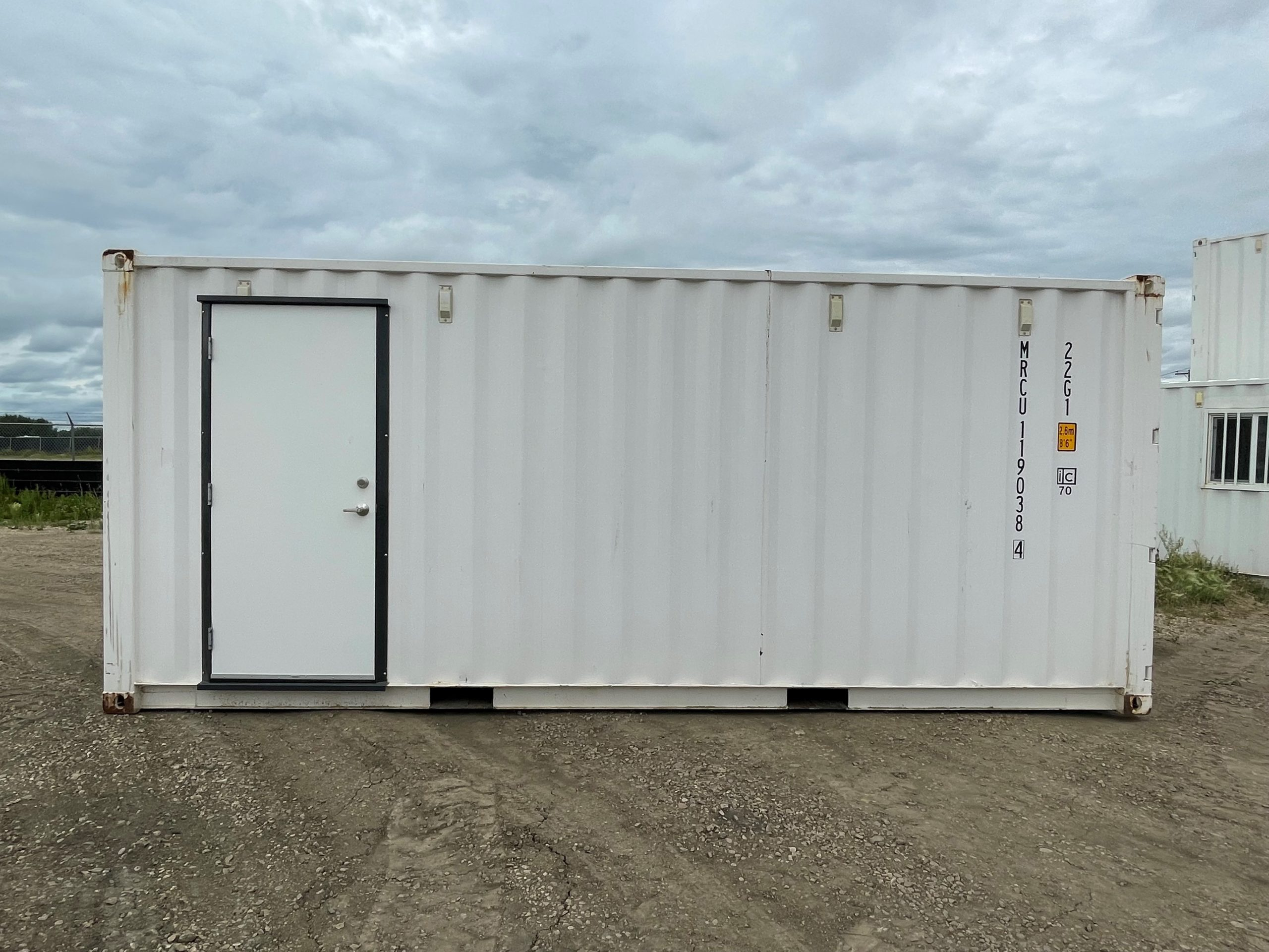 20' New (1-Trip) Shipping Container Sheeted, Insulated + Personnel Door - Custom Cubes